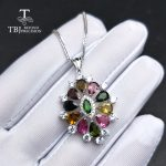 TBJ,Colorful flower pendant with natural tourmaline gemstone necklace in 925 sterling <b>silver</b> romantic <b>jewelry</b> gift for lady mom