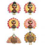 ( Choose Design First ) 10pcs/bag Silver Color Enamel and Rhinestone Thanksgiving Turkey Pendant For DIY Necklace <b>Jewelry</b> <b>Making</b>