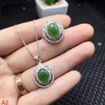 KJJEAXCMY boutique jewels 925 pure <b>silver</b> inlaid natural Jasper Gemstone Ring Pendant 2 piece + Necklace