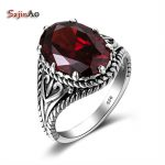 Szjinao Turkey <b>Jewelry</b> Product Red Stone Vintage Big Rings For Women 925 Sterling <b>Silver</b> <b>Jewelry</b> Mosaic Crystal Wholesale