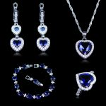Romantic Heart in Heart Style Blue Zircon White Crystal 925 Stamp <b>Silver</b> Color Jewelry Sets <b>Bracelet</b> Earrings Rings Pendant Sets