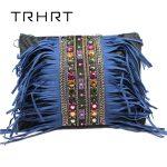 <b>Handmade</b> bag Blue Retro Hippie Designer Women's Gypsy Fringe Bohemian Shoulder Bag Spirit Tassel Cross Body Purse