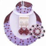 Laanc Fashion Dark Purple Lilac African Bead <b>Necklace</b> <b>Jewelry</b> Set Nigerian Beads Wedding <b>Jewelry</b> Sets for Women 5SZK027