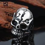Kalen Punk Skull Rings Size 8-12 Male Stainless Steel <b>Antique</b> Men's Skull Finger Rings Biker Dropshipping <b>Jewelry</b> Party Rings