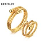 Meaeguet Adjustable Double Wire Cable Cuff <b>Jewelry</b> Set For Women Party Gift Gold-Color Ring+Bangle Set