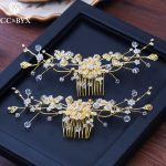 CC hair coms crown hairpins 2pcs sets luxury wedding accessories bride engagement <b>jewelry</b> flower shape <b>handmade</b> beads diy XY226