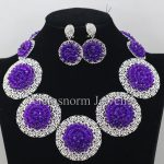 Purple Chunky Bib Beads Necklace Earrings Set African Indian Costume Women Party Jewelry Set Brides Gift Set WA034