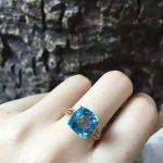 Natural blue topaz stone Natural gemstone ring S925 <b>sterling</b> <b>silver</b> trendy Elegant square women party gift fine <b>Jewelry</b>