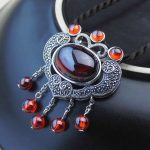 925 Silver Tassel Pendant Round Natural Yellow Stone Pure S925 Solid Thai Silver Pendants for Women <b>Jewelry</b> <b>Making</b> Red Zircon