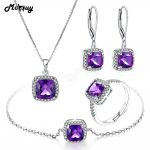 MoBuy 100% 925 Sterling <b>Silver</b> 4PCS Jewelry Sets For Women Natural Gemstone Square Amethyst S925 Fine Jewelry For Women V001EHNR