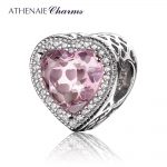 ATHENAIE 925 Sterling <b>Silver</b> with Pave Clear CZ & Pink Heart Shaped Openwork Charm Fit All European Bracelet <b>Necklace</b>