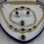 Women's Wedding Real Blue Zircon Inlay Link Bracelet earrings Ring Necklace Set real silver-<b>jewelry</b> silver-<b>jewelry</b>