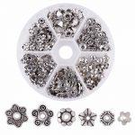 1Box Mixed Style Tibetan Style Alloy Flower Bead Caps <b>Antique</b> Silver