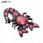 SAVOYSHI Rhinestone Brooches For Men Red Zircon Scorpion Broches Badges Brand <b>Jewelry</b> Fashion Animales Lapel Pins <b>Accessories</b>