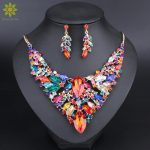Fashion Crystal Statement Necklace & Earrings Sets for Brides Bridal <b>Jewelry</b> sets Wedding Costume Jewellery <b>Accessories</b> Women
