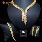 HADIYANA Leaves Shape CZ 4pcs Sets 2 Color Wedding Bridal Jewelry Sparkling Crystal Bride Party Date Princess Queen BN5859