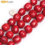 Gem-inside 19x20mm Dyed Color Freeform Large Round Red Coral Orange Colral Beads For <b>Jewelry</b> <b>Making</b> Beads 15inch DIY Beads