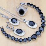 925 Silver Bridal <b>Jewelry</b> Sets Black Zircon White CZ decoration For Women Wedding Earrings/Pendant/<b>Necklace</b>/Rings/Bracelet