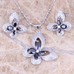 Royal Butterfly Black Cubic Zirconia White CZ Silver Earrings Pendant Necklace <b>Jewelry</b> Sets S0727