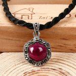 High quality genuine 925 sterling <b>silver</b> natural Semi Precious Stone Pendant stars <b>necklace</b> Red corundum simple women jewelry