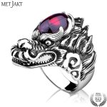 MetJakt Punk Rock Domineering Dragon Ring with Garnet Solid 925 <b>Sterling</b> <b>Silver</b> Handmade Engraved Men's Rider <b>Jewelry</b>