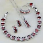 925 Sterling <b>Silver</b> Jewelry Red Crystal White Zircon Jewelry Sets For Women Wedding Stud Earrings/Necklace/<b>Bracelet</b>/Pendant/Ring