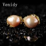 Venidy 2017 New Natural Baroque Pearl Inlay Tourmaline Stud <b>Earrings</b> Fine Jewelry 925 Sterling <b>Silver</b> <b>Earrings</b> Stud Women Party