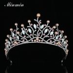 Minmin Popular Leaves Simulated Pearl Tiaras and Crowns Crystal Gun Black Color Bridal Wedding Hair <b>Jewelry</b> Accessories MHG093