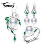 FENASY 925 Sterling <b>Silver</b> jewelry sets for women,Emerald drop <b>earrings</b>,natural pearl pendants&necklaces engagement ring set