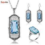 Szjinao Square Big Aquamarine Vintage Sterling <b>Silver</b> 925 Jewelry Sets for Women Fashion Wedding Pendant/<b>Earrings</b>/Ring