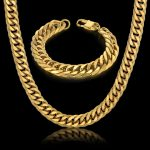 Newest Thick African <b>Jewelry</b> Set Fashion Chunky Gold Color Chain Set For Men Cuban Link 14MM Chain Bracelet <b>Necklace</b> Sets