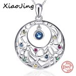 New arrival 925 sterling silver round shape Flower vine chain pendant&necklace with CZ diy fashion <b>jewelry</b> <b>making</b> for women gift