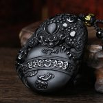 Bao Wu light natural scrub Obsidian tripod toad Ruizhu cicadas Pendant diy real stone Obsidian jewelry <b>necklace</b> charms popsocke