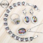 Mystic Rainbow Zircon 925 Silver Costume Bridal <b>Jewelry</b> Sets Women Earrings Rings Pendant Necklace Bracelets Set Gift Box