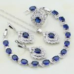 Leaves Blue Cubic Zirconia White Zircon 925 Sterling <b>Silver</b> Jewelry Sets Earrings/Pendant/Necklace/<b>Bracelet</b>/Ring For Women Gift