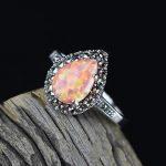 Genuine 925 Sterling <b>Silver</b> <b>Jewelry</b> Fire Opal Rings Water Drop Shaped Vintage Thai <b>Silver</b> Natural Stone Ring Women Accessories