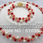 17″ round white pearl red pink coral necklace <b>bracelet</b> Jewelry Sets