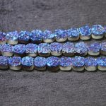 10mm and 12mm Blue Titanium Druzy Stone Coin Beads Pendants Drusy Necklace Quartz Flat Round Beads <b>Jewelry</b> <b>Making</b>