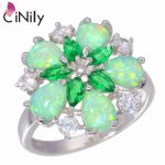 CiNily Created Green Fire Opal Crystal Cubic Zirconia Silver Plated Ring Wholesale Retail for Women <b>Jewelry</b> Ring Sz 6-10 OJ5065