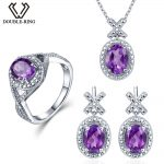 Double-R 0.03ct Natural Diamond <b>earring</b> Ring Pendant Necklace <b>silver</b> 925 4.1ct Real Amethyst Gemstone Jewelry Sets <b>Silver</b> Chain