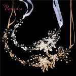 bridal Wedding Party <b>jewelry</b> Gold sliver Leaves Pearl Headbands Flower Head Piece Bride Vintage Hair bands RE587