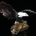 Flying Bald Eagle on Branch Trinket Box Bejeweled Figurine Eagle <b>Handmade</b> Jeweled Metal & Enamel Trinket Box