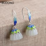 BUDONG Real 925 <b>Sterling</b> <b>Silver</b> Drop Dangle Earring for Women Lotus Seedpod Cloisonn Process Hook Anniversary Fine <b>Jewelry</b>