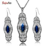 Szjinao Fashion Vintage Jewelry Sets Blue Rhinestone Real 925 Sterling <b>Silver</b> Set <b>Earrings</b> Pendant Set Punk Party Gift Promotion