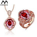 MDEAN Rose Gold Color Wedding <b>Jewelry</b> Sets Red Stone AAA Zircon Engagement Rings + Pendant fashion <b>accessories</b>