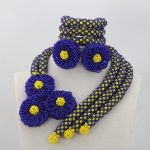<b>Handmade</b> <b>Jewelry</b> Bridemaid Royal Blue/Yellow Crystal Wedding African Beads <b>Jewelry</b> Set Indian <b>Jewelry</b> Set Free ShippingABL950