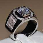 2017 New Arrival Men Fashion <b>Jewelry</b> 10KT White Gold Filled Round Cut AAA CZ Zirconia Simulated stones <b>Wedding</b> Band Ring SZ8-13