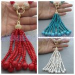 25″ Red Coral Blue white Round Freshwater Pearl <b>Necklace</b> Cz Pendant