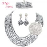 <b>Silver</b> African Nigerian style Wedding Crystal Beads jewelry set Wedding bridal <b>Bracelet</b> Earrings necklace Jewelry set WS5600