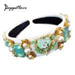 New Trend Baroque Luxury Velvet Crown Crystal Flower Hair Band Hair <b>Jewelry</b> Accessories Wedding Party Tiara Pearl Headband Gifts
